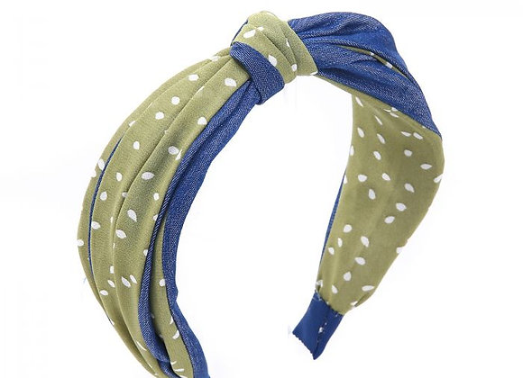 Green Spotty and Demin Headband