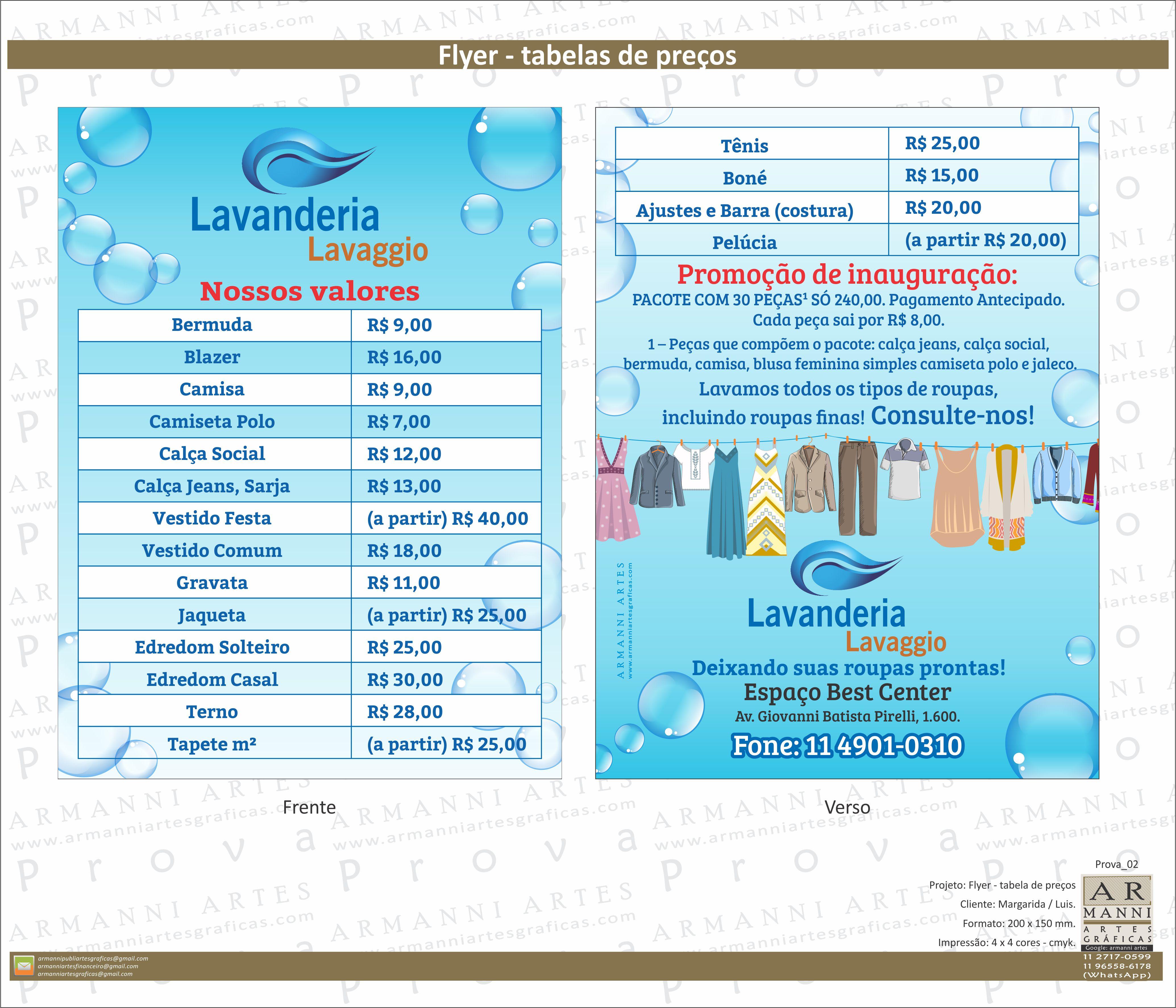 Folheto, flyer - tabela de preços.