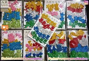 Adesivos em E.V.A. com glitter e papel adesivado glitterizado.