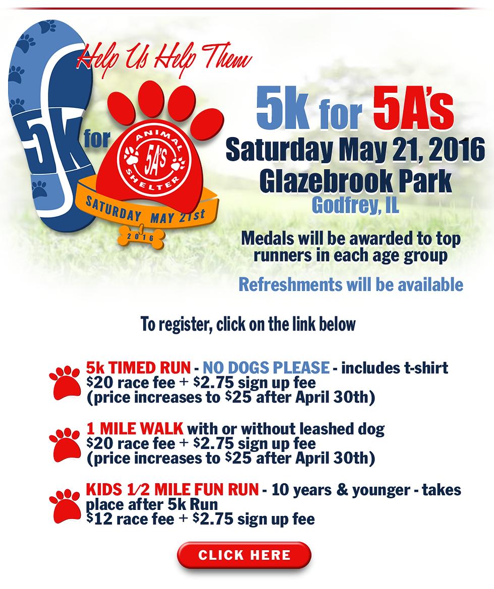 5As,Alton Area Animal Aid Association,5K,5K Run,Glazebrook Park,Godfrey,5K for 5A's,May 21, 2016,timed run, 1 mile walk,kids fun run,
