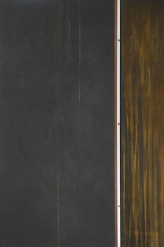 Bruce Mortimer Gallery Abstract Painting Side of the Tracks Dark Gray Brown Line Stainless Steel
