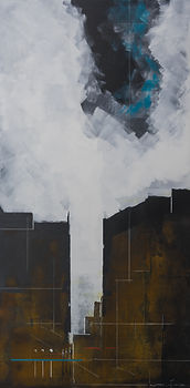 Bruce Mortimer Gallery Acrylic Painting Expressionism City Second Facade Canvas Cloud