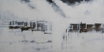 la galeria Bruce Mortimer Gallery Beyond Highstreet Acrylic Painting Canvas City Walking Expressionism Clouds City Umbrella Faded Rain Road Walking