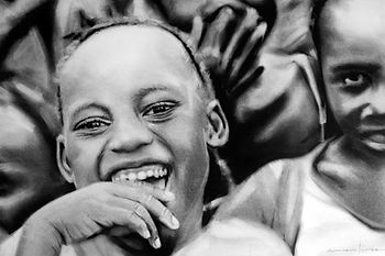 Bruce Mortimer Gallery Pencil Charcoal Drawing Realistic Happiness Paper African Boys Portfolio