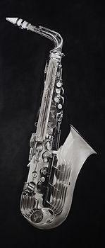 Bruce Mortimer Gallery Pencil Charcoal Drawing Realistic Tonal Grafton Alto Saxophone Paper Plastic
