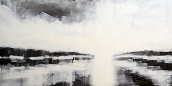 inlet Bruce Mortimer Mortmer Gallery Water Hills Sky Reflections River Sea Black and White Drawing Charcoal Realistic on Paper