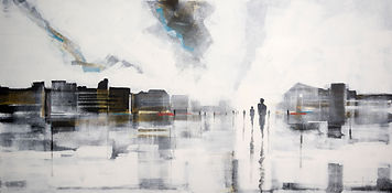 Distancia Bruce Mortimer Gallery Expressionism Acrylic Painting Canvas City People Walking Clouds Reflection