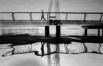 Bruce Mortimer Gallery Pencil Paper Charcoal Drawing Realistic Span Bridge Water