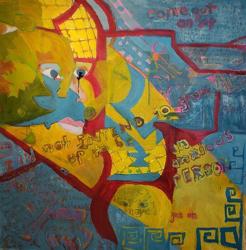 anxious magpie, 64 x 64 acrylic on canva