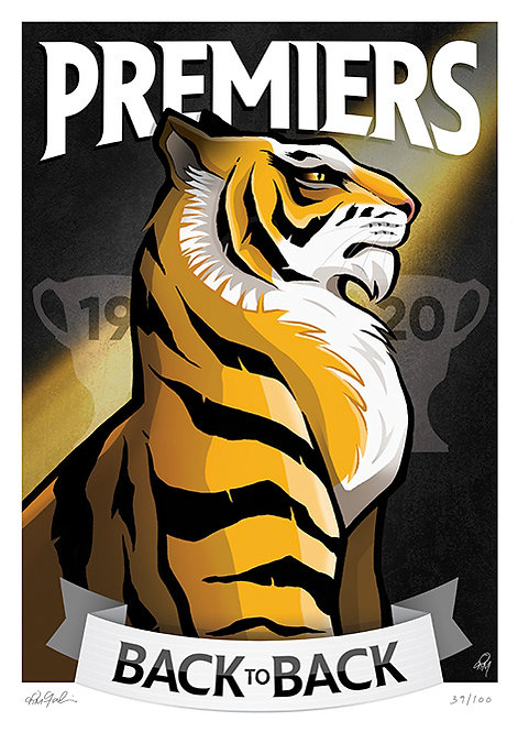 2020 Tigers 'Premiers' Print LIMITED & SIGNED