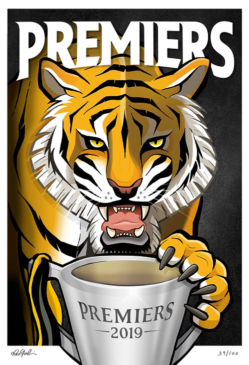 2019 Tigers 'Premiers' Print LIMITED & SIGNED