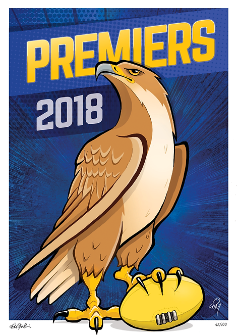 2018 Eagles 'Premiers' Print LIMITED & SIGNED