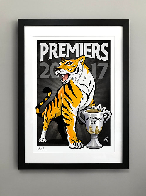 2017 Framed Tigers 'Premiers' Hand Signed Print