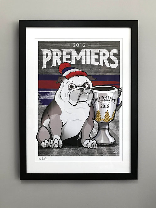2016 Framed Bulldogs 'Premiers' Hand Signed Print