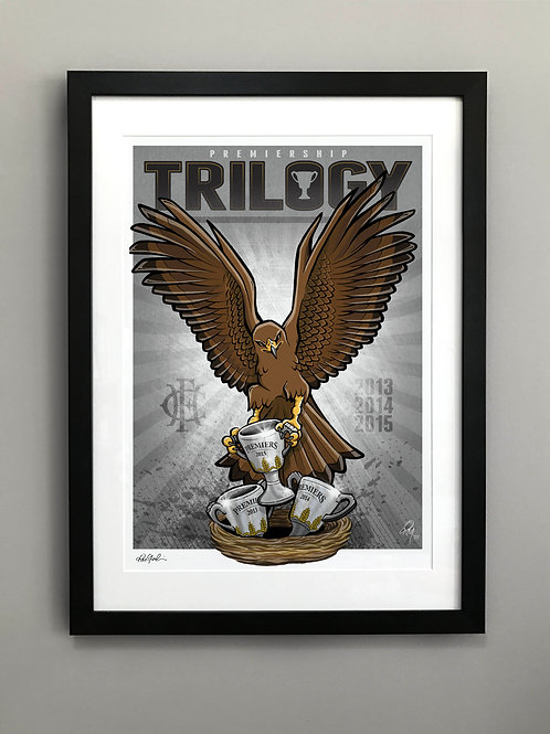 2015 Framed Hawks 'Premiership Trilogy' Hand Signed Print