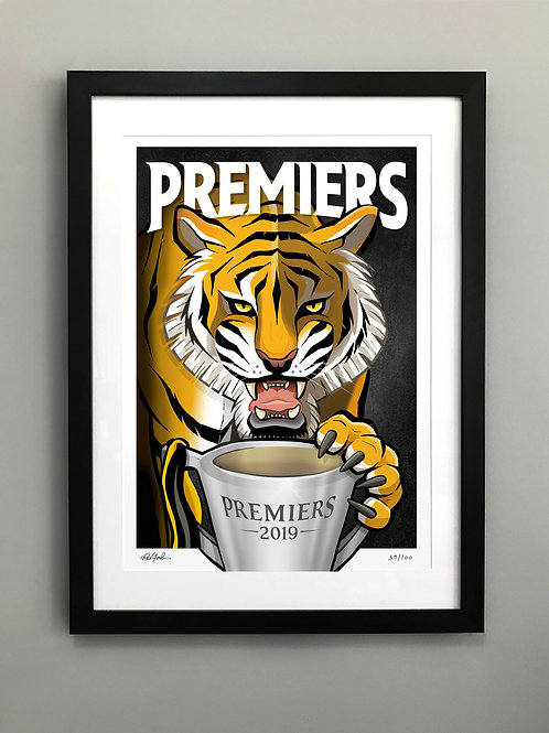 2019 Framed Tigers 'Premiers' Hand Signed & Numbered Print