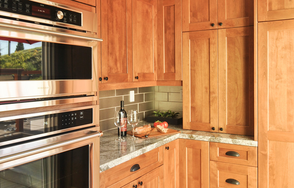 alder wood cabinets stainless oven