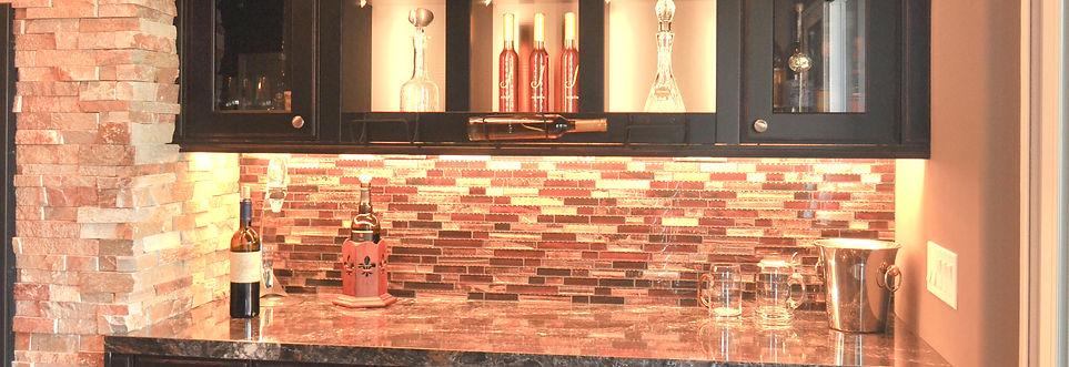 black bar cabinets tile backsplash