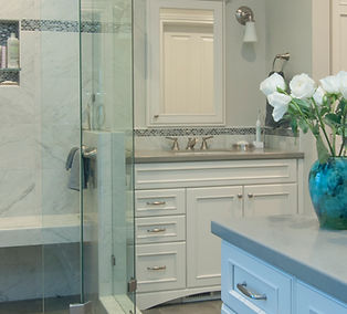 Bath cabinets, shower