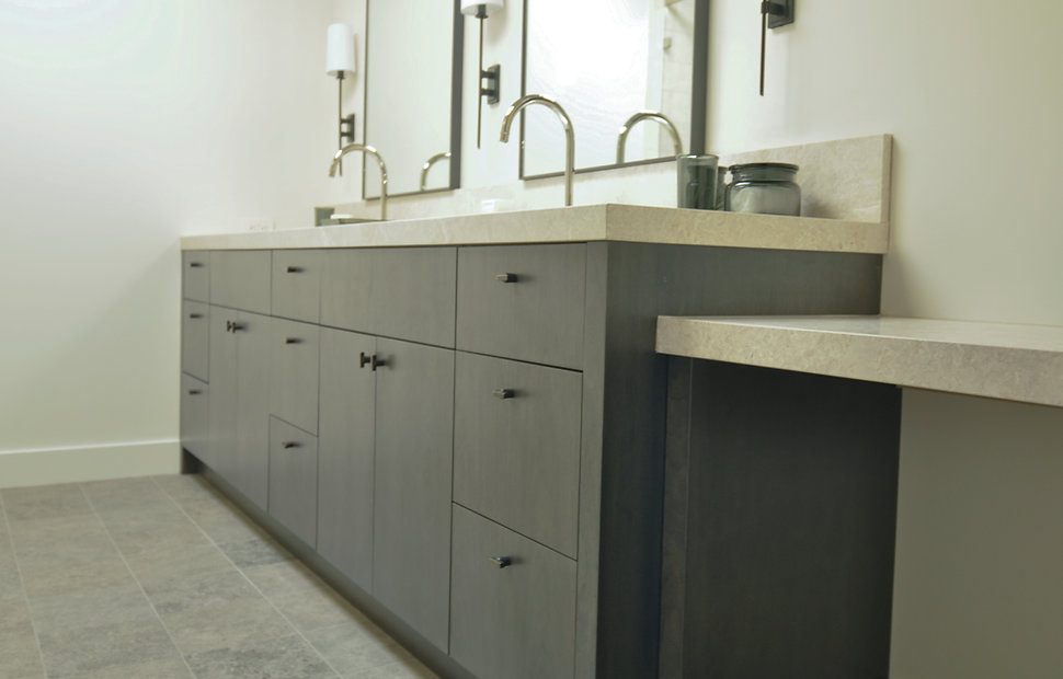 flat grey vanity cabinets