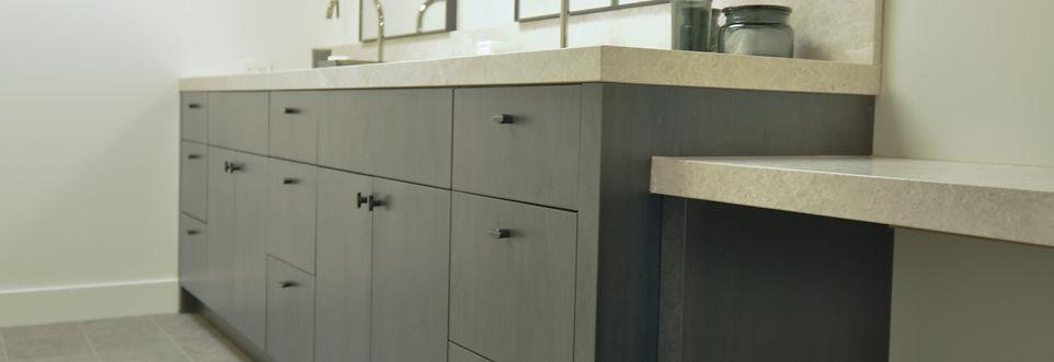grey cabinets flat panel