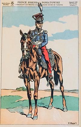 Grafika - Książe Józef Poniatowski na koniu