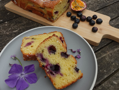 A Sample Cookalong - Passion Fruit and Blueberry Loaf Cake