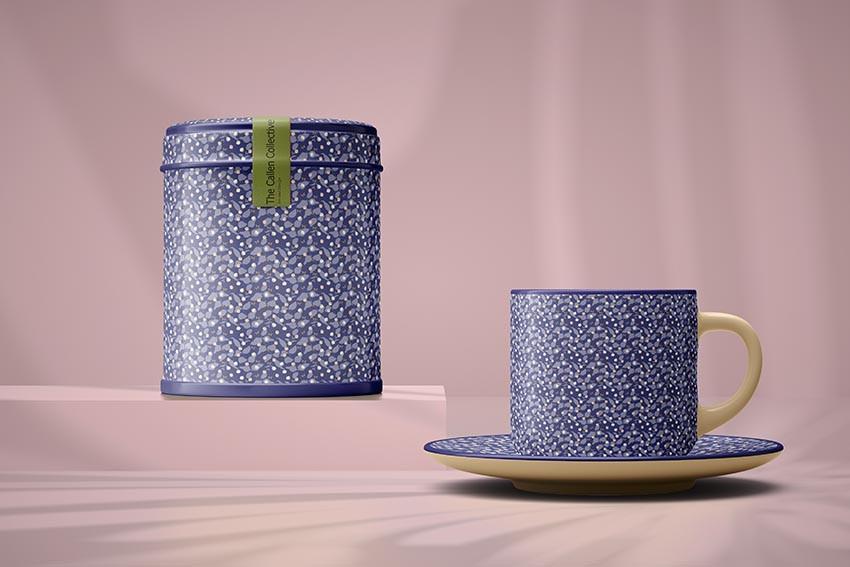 Blue gum tea set with blue trim