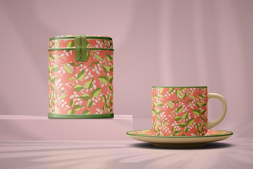 Tea Set with Linden Coral