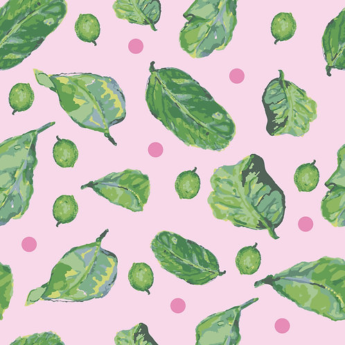 Lime Leaf Scatter Pink