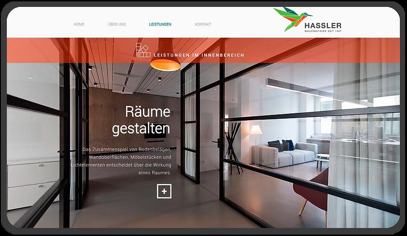 Desktop Website Räume Gestalten mit Maler Hassler. Rivermedia Referenzen