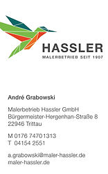 Visitenkarte Back Design Maler Hassler Rivermedia