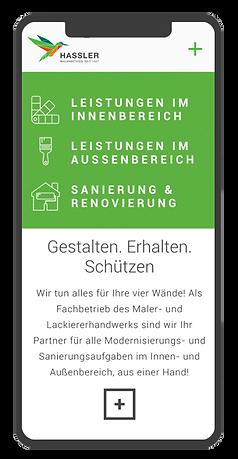 Mobile Website Design Maler Hassler. Rivermedia Referenzen