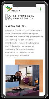 Mobile Website Ansicht Unterseite Leistungen im Innenbereich. Rivermedia Referenzen