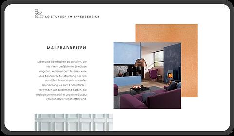 Desktop Ansicht für Seite Leistungen im Innenbereich, zu sehen: Malerarbeiten. Rivermedia Referenzen