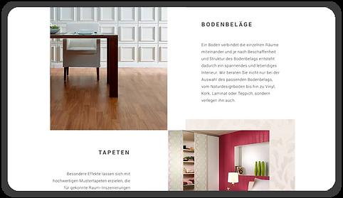 Desktop Ansicht für Seite Leistungen im Innenbereich, zu sehen: Bodenbeläge und Tapeten. Rivermedia Referenzen