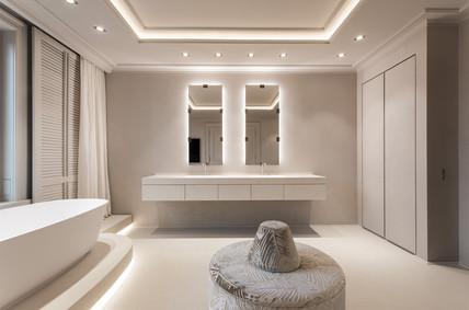 Altbauvilla mit Alsterblick Waschtisch im Badezimmer