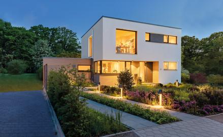 Architekturfotografie Bauhaus im Sonnenuntergang
