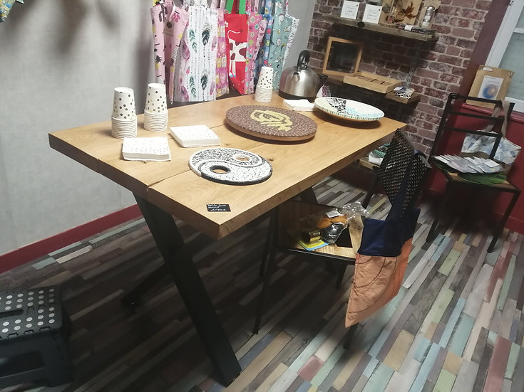 Table chêne massif/metal 70x140