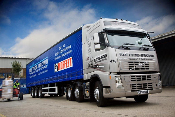 45 ft curtain sider trailer to hire with volvo fh lorry truck for haulage or logistics from David Bletsoe-Brown Self Storage - cheap and secure self-storage in Kettering near Corby Wellingborough and Market Harborough in Northamptonshire