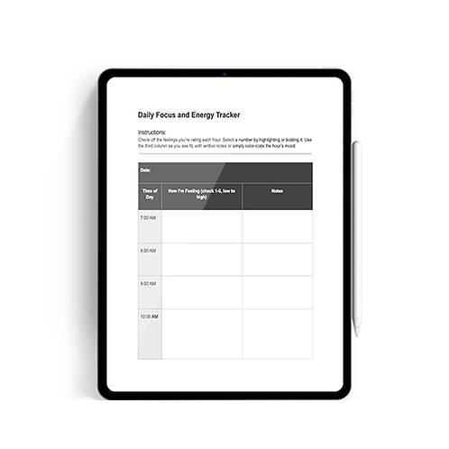 Daily Focus and Energy Tracker