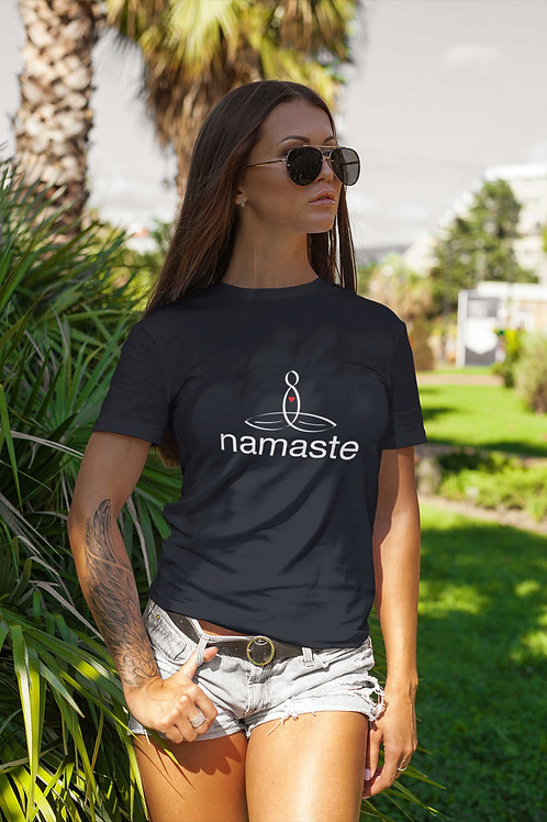 """The Meditator T-Shirt with """"namaste"""" text  - Great mindful gift"""