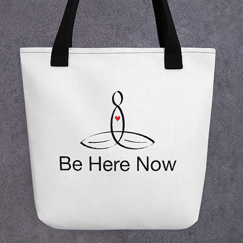 "Meditator with ""Be Here Now"" in plain text - Tote Bag - from Mindful Designs"