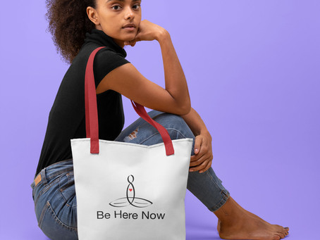 "The Meditator with ""Be Here Now"" Tote bag"