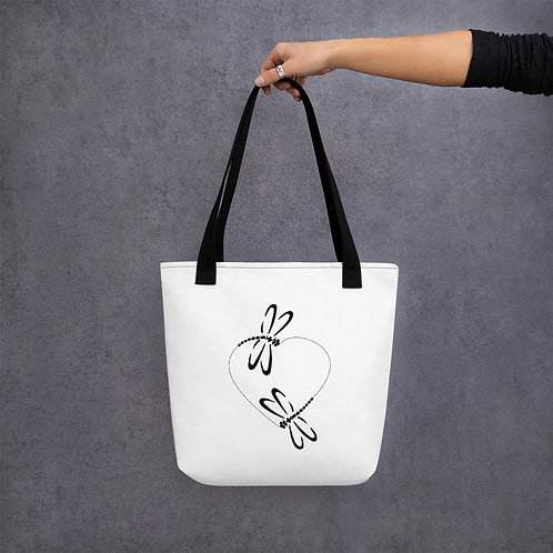 The Dragonfly Heart - Tote Bag With Two Dragonflies Flying In A Heart Pattern.