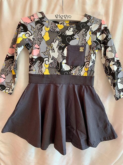Grey Cat Printed Dress