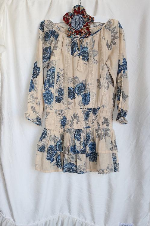 Blue and Cream Flower Dress