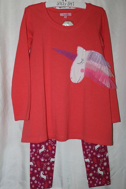 Orange Long Sleeve Unicorn Top