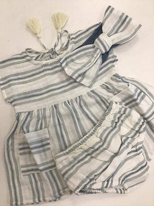 Blue Awning Stripe Dress w/Panties