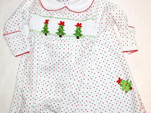 Polka Dot Christmas Tree Footsie and Blanket 2pc